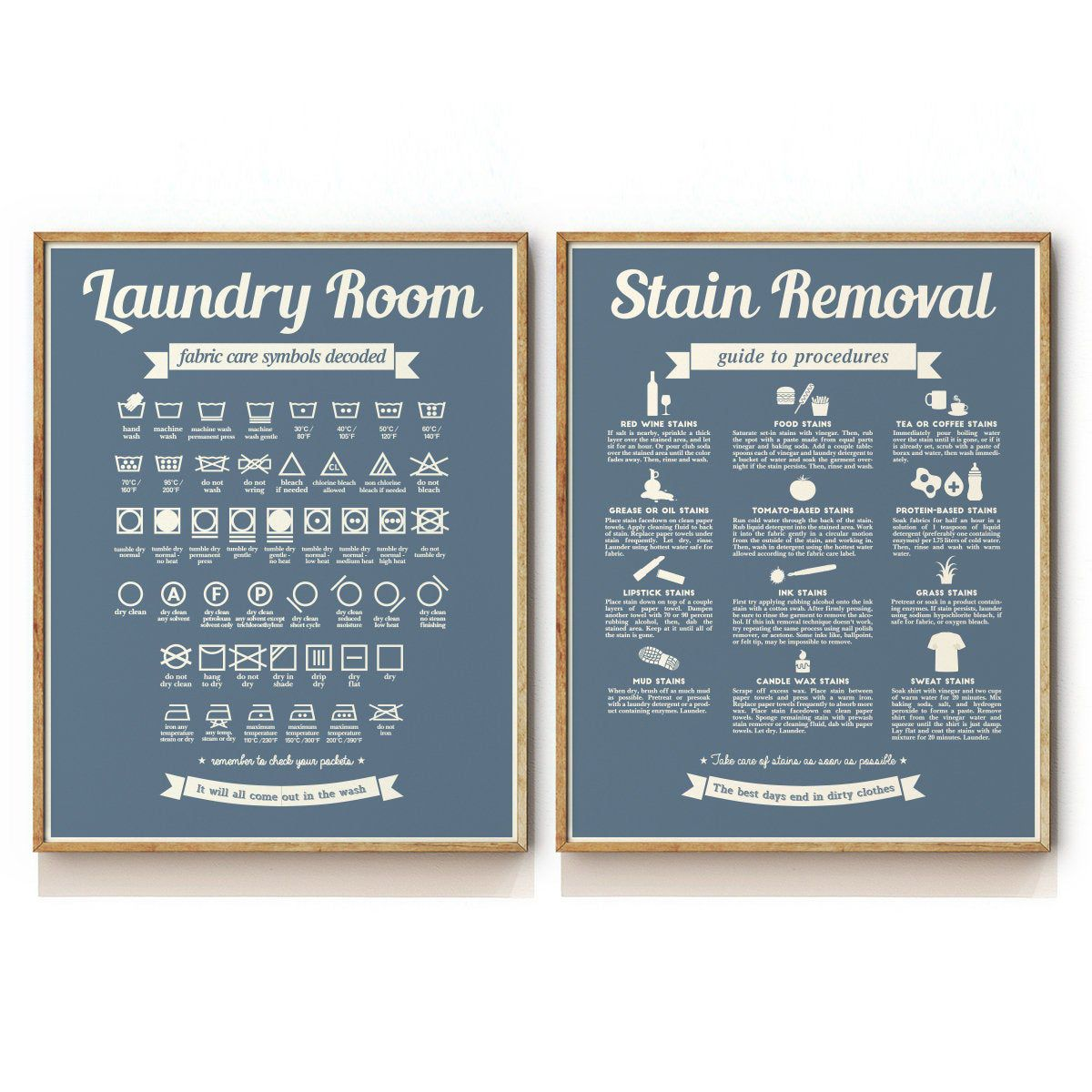 Laundry Symbols Chart And Stain Removal Guide Art Print In 2020
