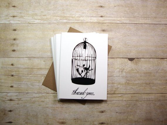 Bird Cage  Simple and Modern Thank You Greeting by aLouCreations, $17.10