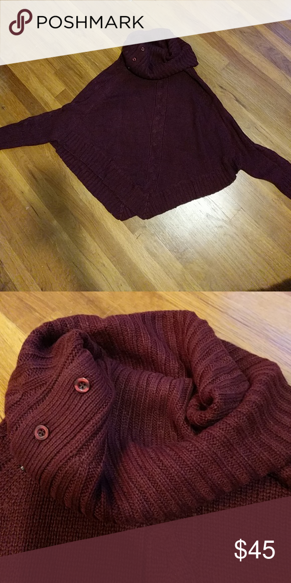 Sch Fix Bat Wing Poncho Brand New Without Tags Wine Colored Cable Knit Turtleneck Sweater Rd Style Sweaters