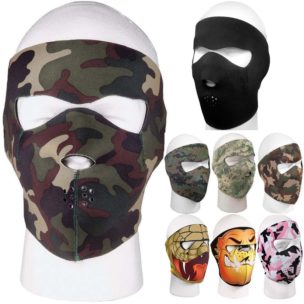 Camo Tactical Full Face Mask Adjustable Winter Cover Outdoor Reversible  Black  Rothco a1e18363a16