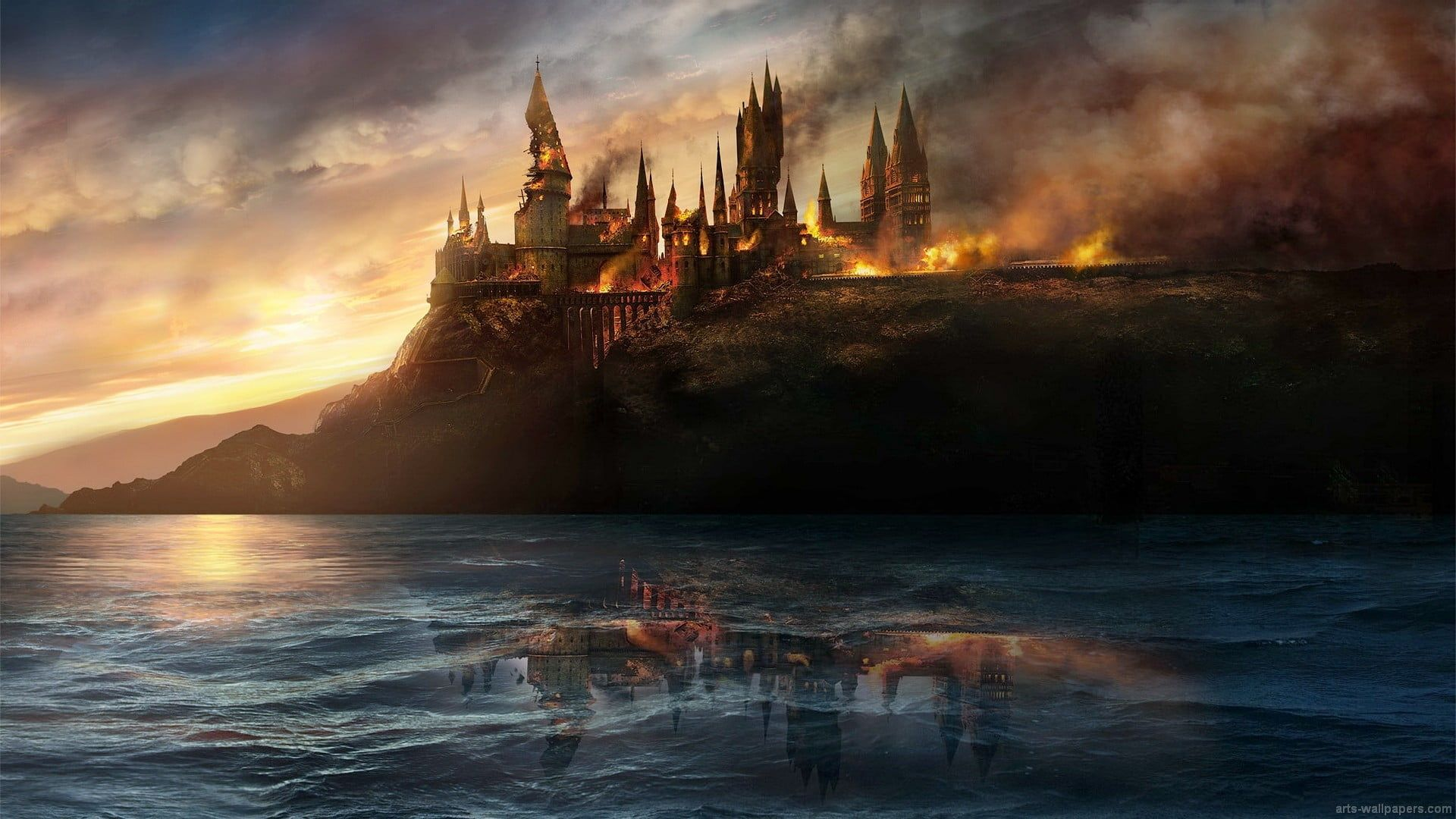 burning castle wallpaper Harry Potter #Hogwarts battle at hogwarts #1080P  #wall… | Desktop wallpaper harry potter, Harry potter wallpaper, Harry  potter fan theories