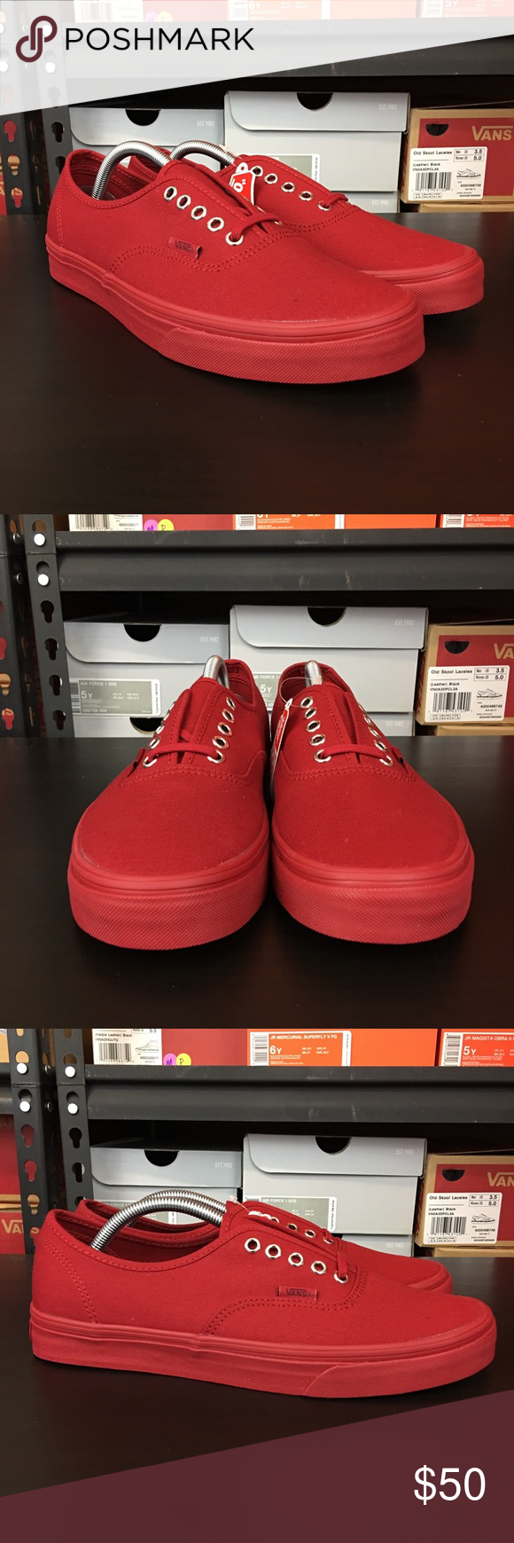 25a2a2421cb24a Vans Authentic Primary Mono Red Silver Men s OTW Brand new with box ...