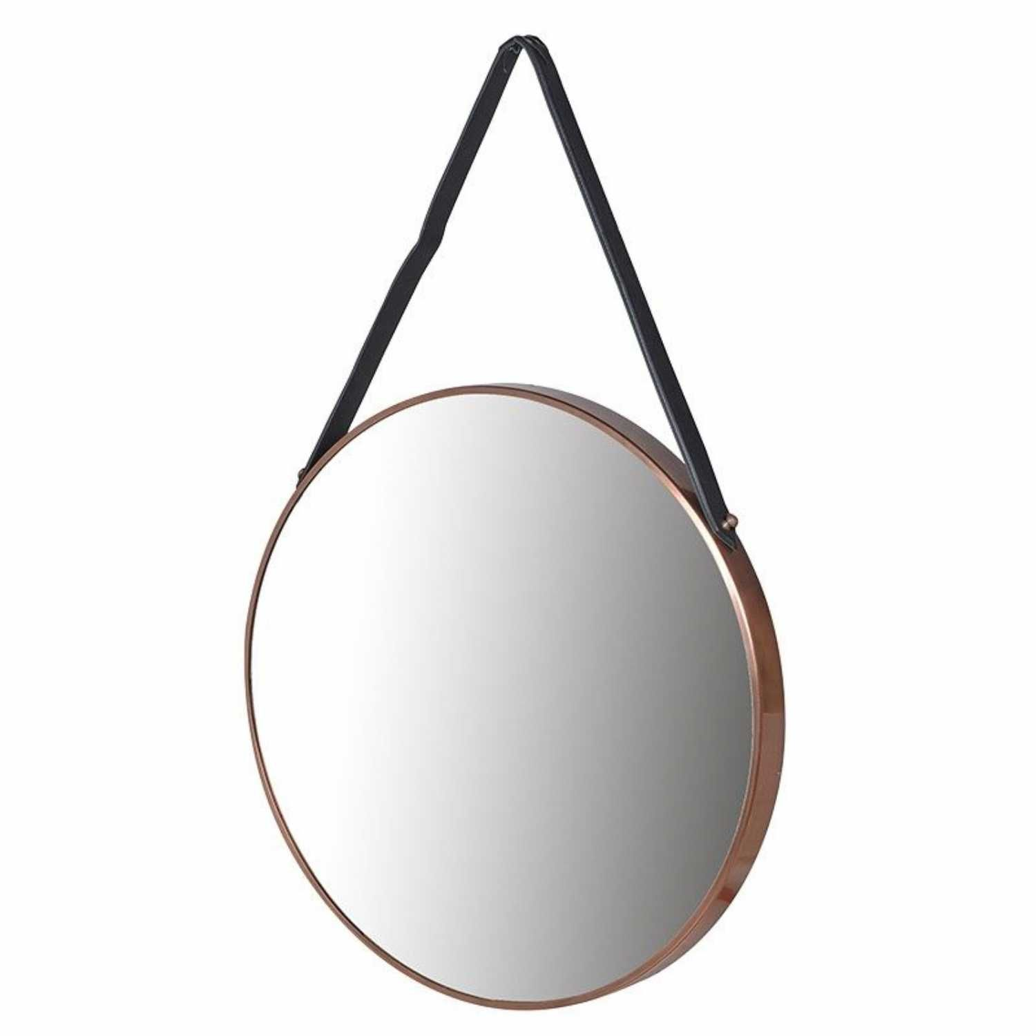 Large Round Copper Framed Wall Mirror With Leather Strap