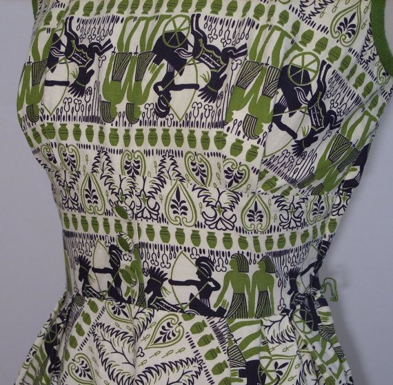 Awesome 1950s Egyptian revival novelty print summer dress. #vintage #1950s #dresses #fashion #Egypt