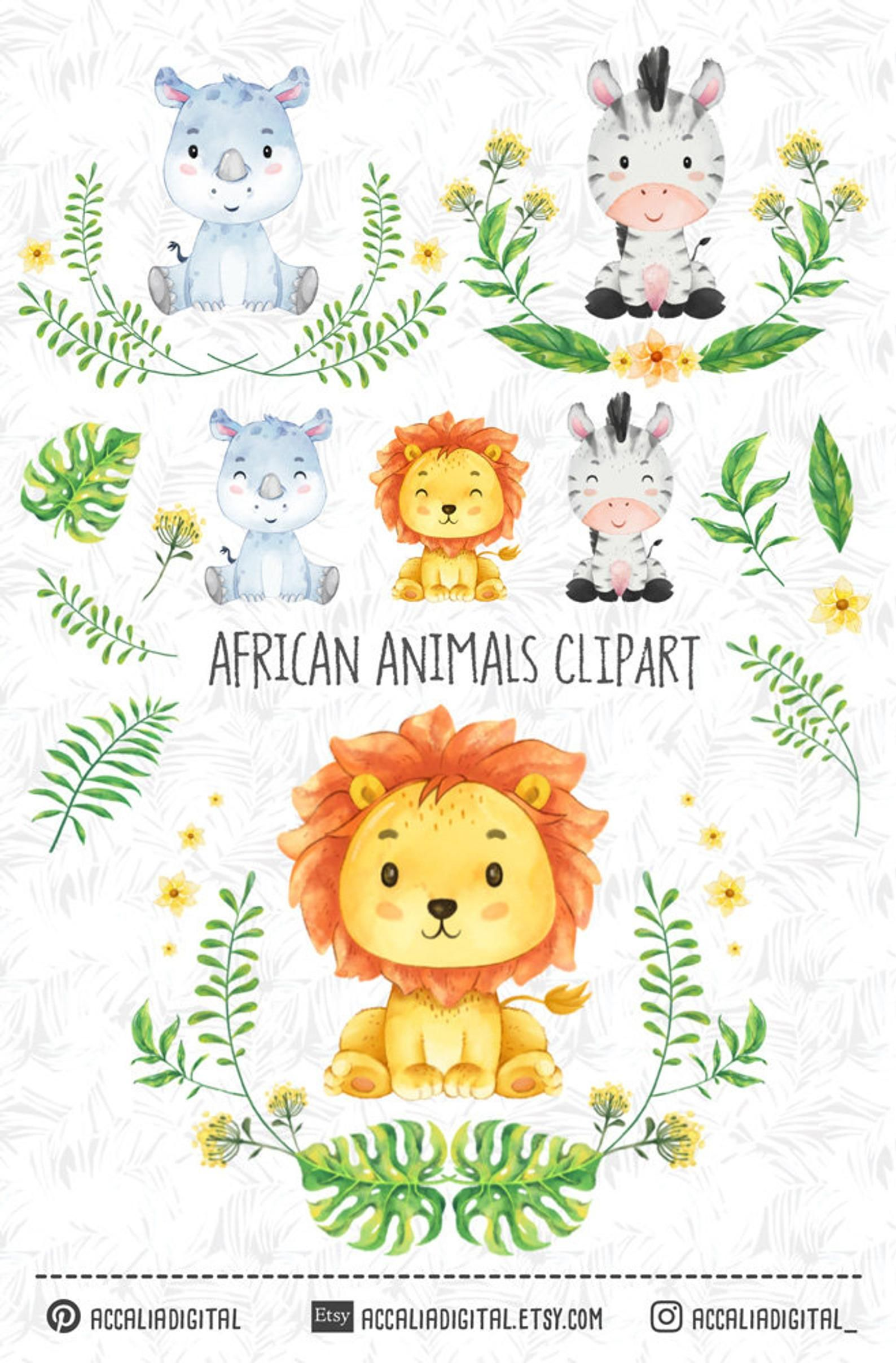 African Animals Clipart Set 1 Watercolor Animal Sticker Lion Etsy In 2021 Animal Clipart African Animals Watercolor Animals
