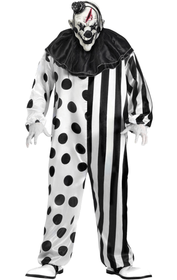 black and white creepy clown png