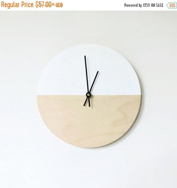 Sale, Wall Clock, Trending Minimalist Art, Natural Wood And White,  Housewares,