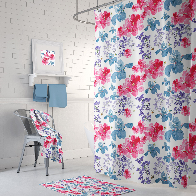 Floral Shower Curtain Set Peonies Iris Wisteria Spring Clean