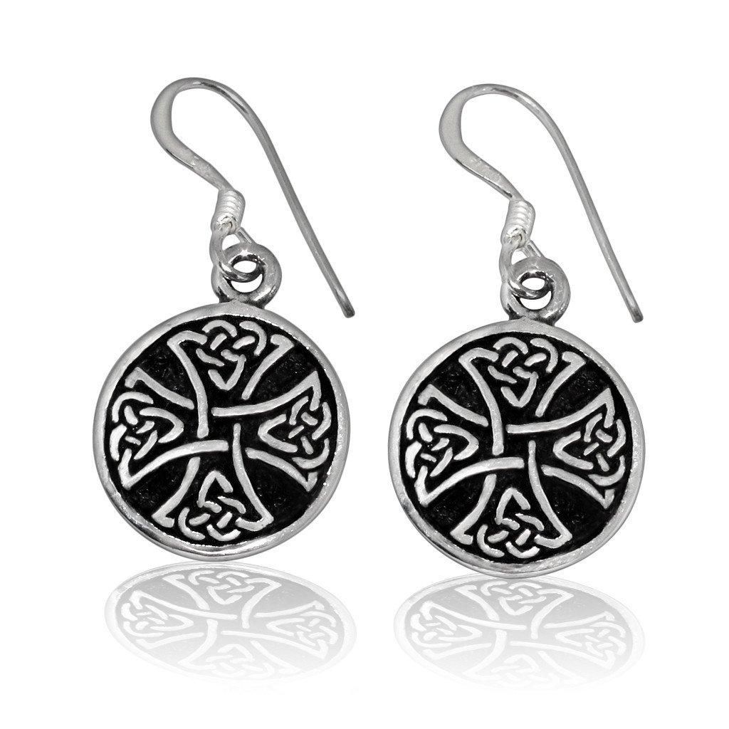 Maltese Cross Stud Earrings Sterling Silver 925 Knights Emblem Jewelry Gift
