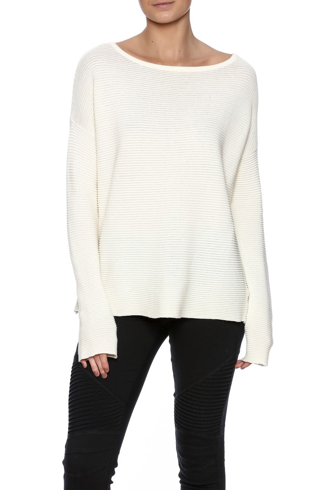 Oatmeal ribbed long sleeve sweater with a boat neckline and dropped shoulders.   Felton Sweater by BB Dakota. Clothing - Sweaters - Crew & Scoop Neck New Jersey
