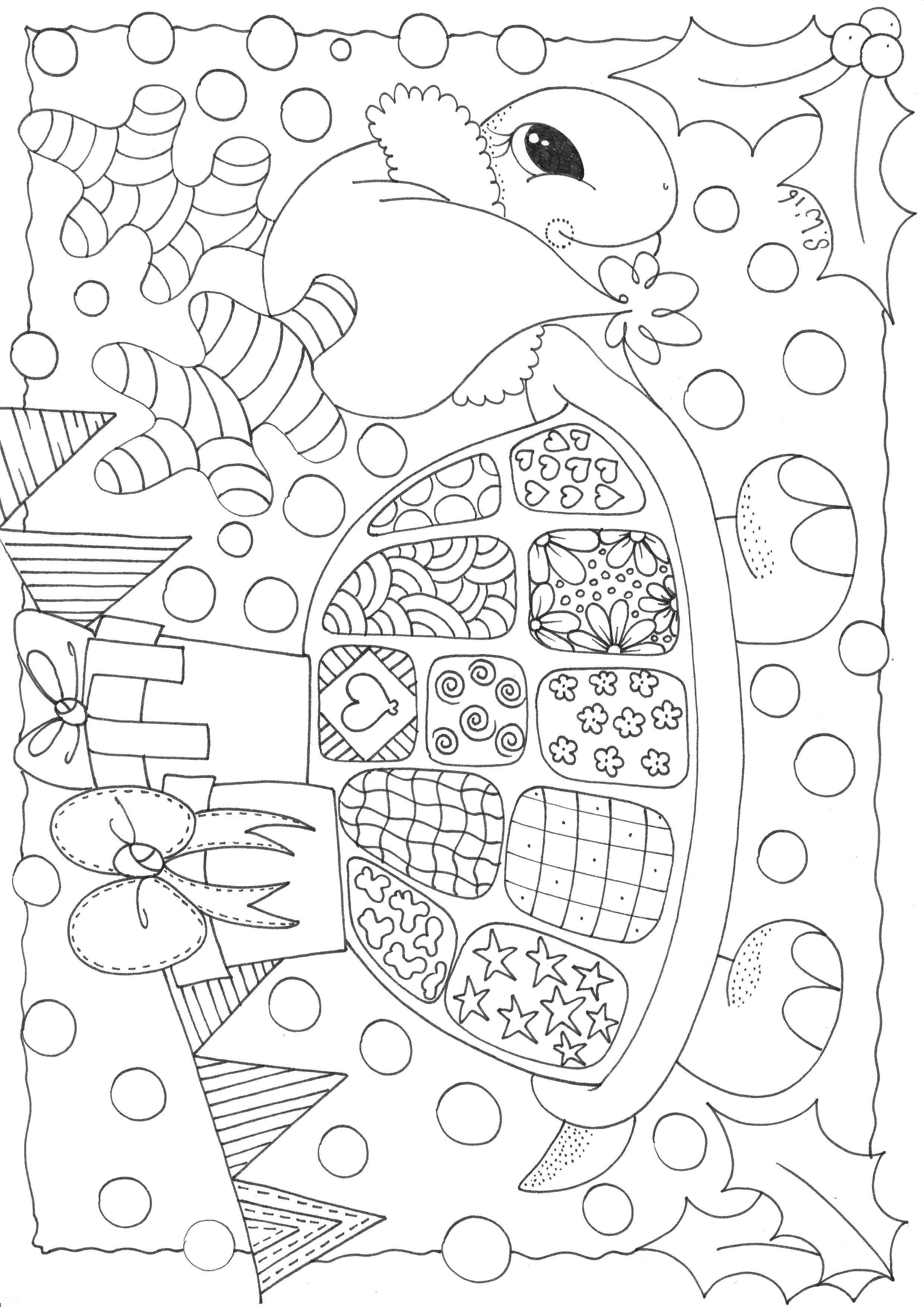 Kleurplaten Voor Volwassenen Schildpad.Kerst Feest Schildpad Kleurplaten Kleurplaten Voor