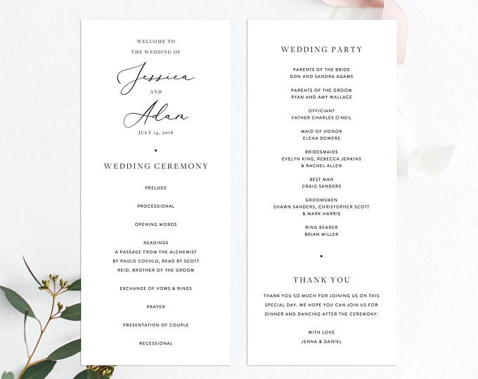 Wedding Ceremony Program Template Modern Minimal Simple Plain