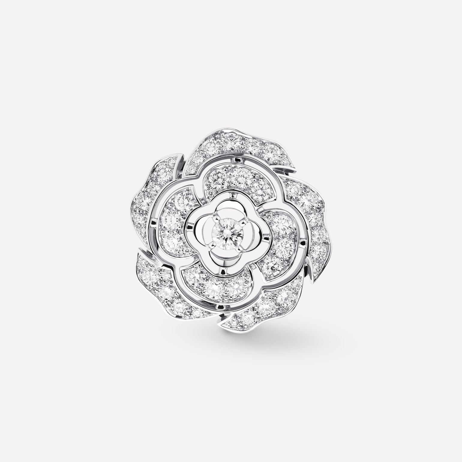 ced0f7b8c59a30 Camélia Ring - Camellia bud motif in 18K white gold and diamonds with one  center diamond J11182 at the CHANEL Fine Jewelry website.