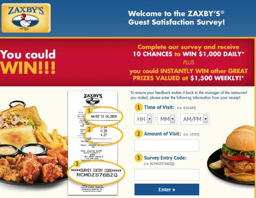 My Zaxby's Guest Satisfaction Survey, www.myzaxbysvisit.com