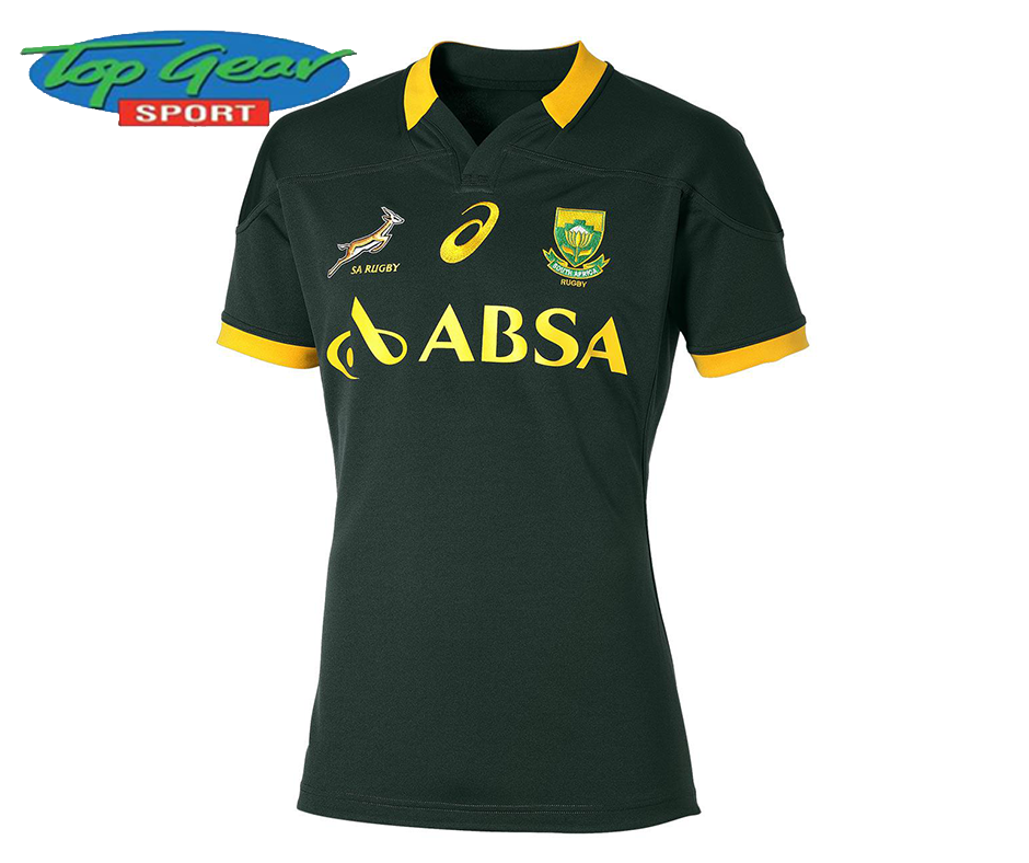 Show Your Support For The Springboks With A Supporter S Jersey From Topgearsport Contact Us On 044 873 0626 For More Informat Rugby Jersey Rugby Shirt Rugby