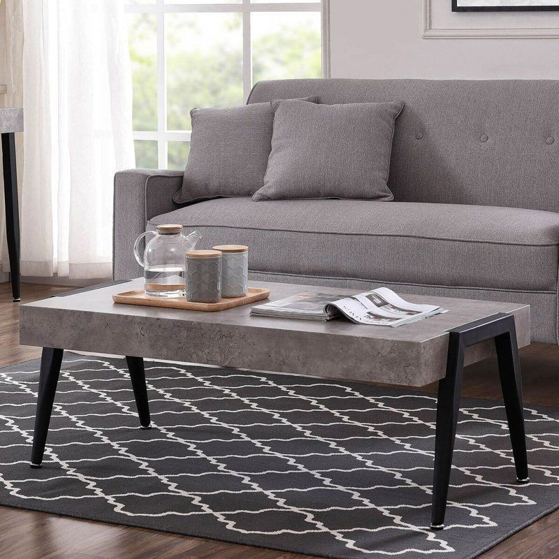 !nspire Faux Cement and Metal Coffee Table - 301-370CT