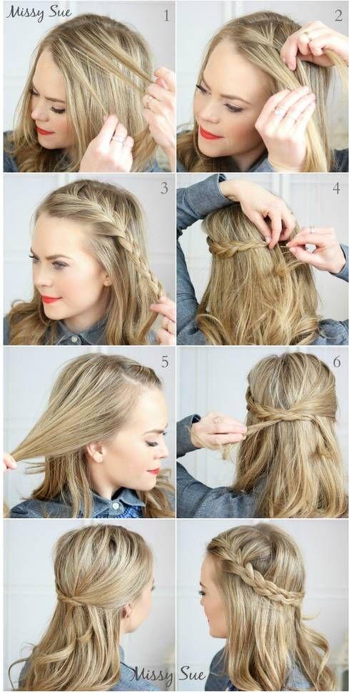 Demi queue de cheval avec tresse sur le côté coiffures
