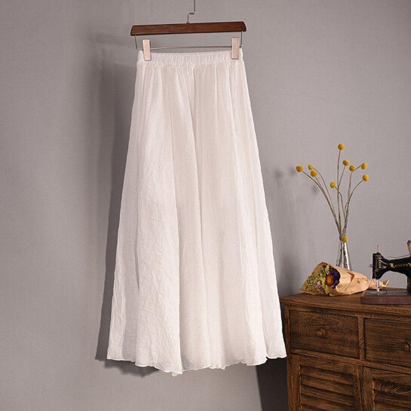 Lace Girl Fashion Women Linen Cotton Long Skirts Autumn Women Pleated Maxi Skirts Retro Ladies Slim Elastic Waist Casual Skirt