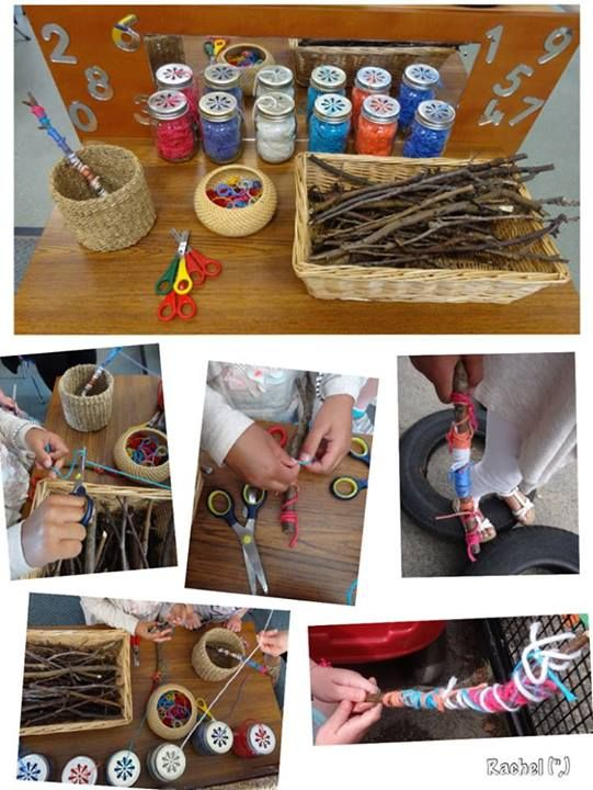 """Wrapping twigs in wool - from Rachel ("""",)"""