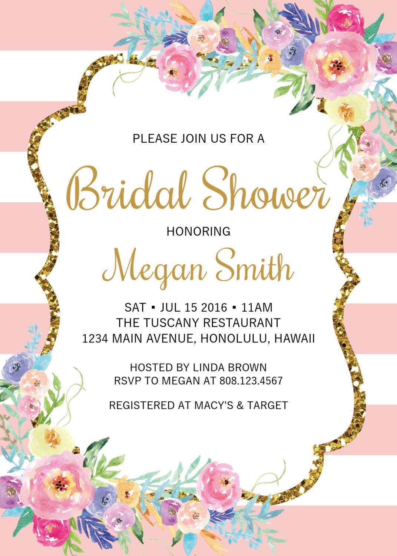 Floral Bridal Shower Invitation Bridal Brunch Invite, Gold Glitter ...