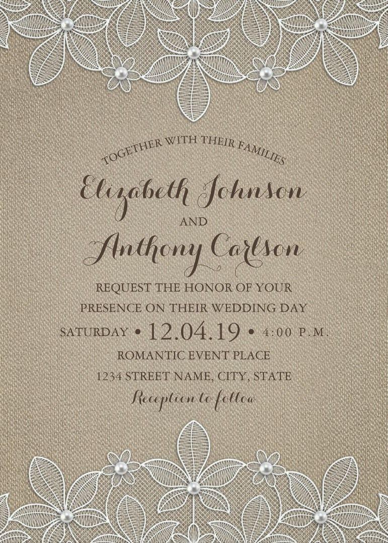 Rustic Burlap Lace Wedding Invitations - Elegant Country Luxury ...