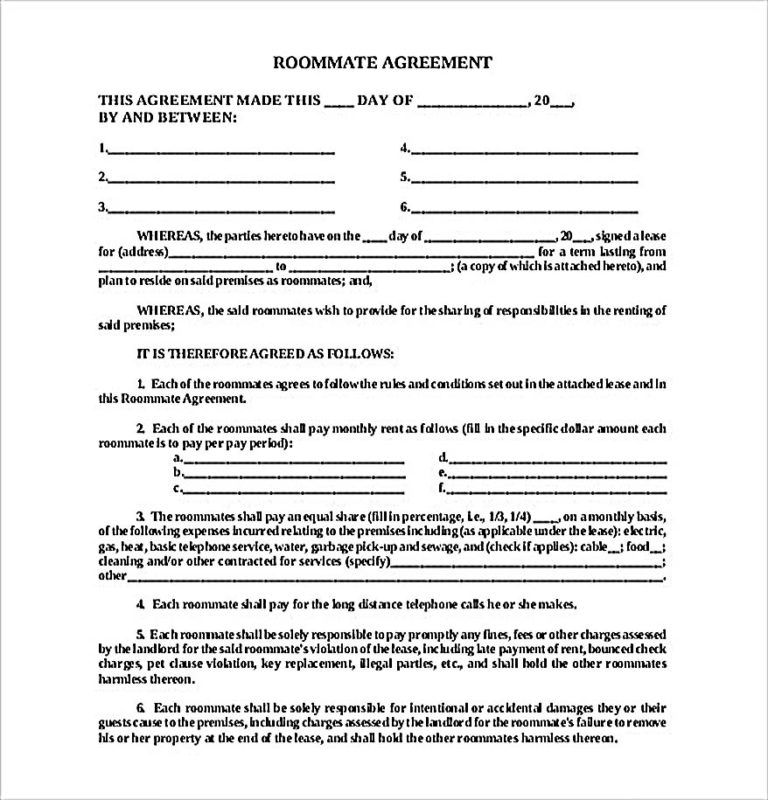 Roommate Contract Agreement Form Roommate Agreement Roommate Agreement Template Roommate Contract