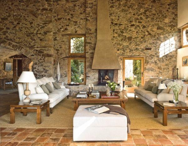 Natursteinwand im Wohnzimmer – die Natur zu Hause empfangen ...