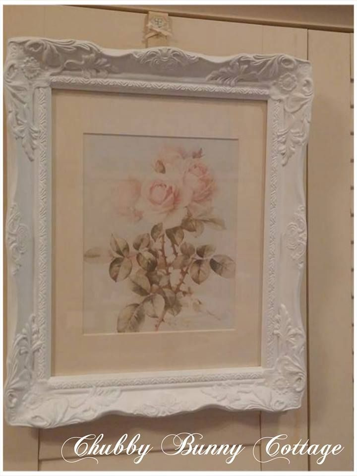 Shabby Chic Country Romantic Frame.Shabby Romantic Cottage Rose Print Pink Ornate Frame Cream