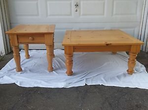 Broyhill Furniture Pine Coffee Table With End Table No