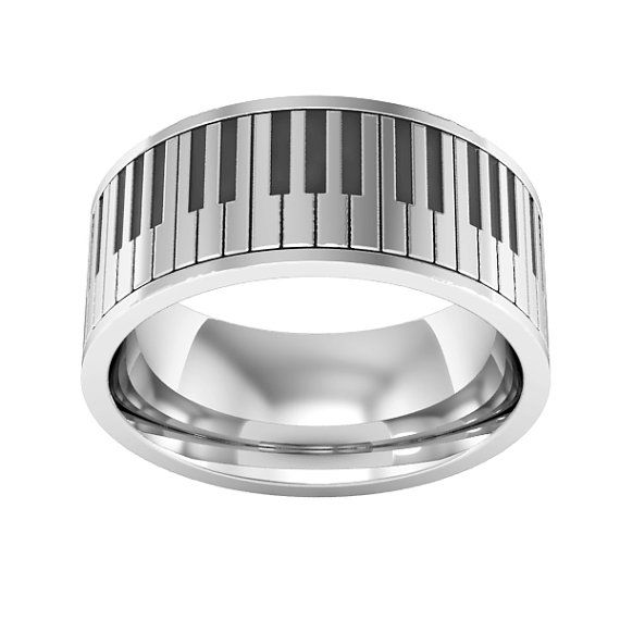 Piano Ring Sterling Silver Piano Band Ring Music Ring By