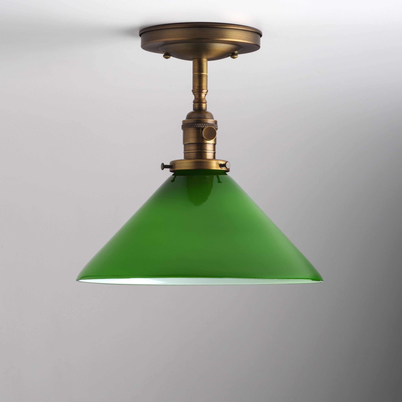 10 green glass dome semi flush stem mount light fixture usa handblown glass