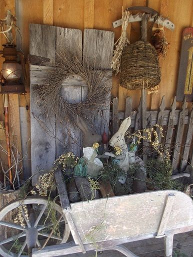 Primitive Spring Thyme Rustic Spring Decorating Ideas