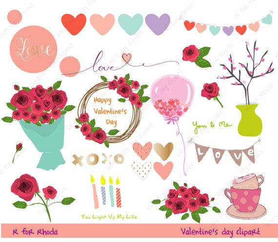 Valentine's day clipart, love clipart, flower heart digital ...