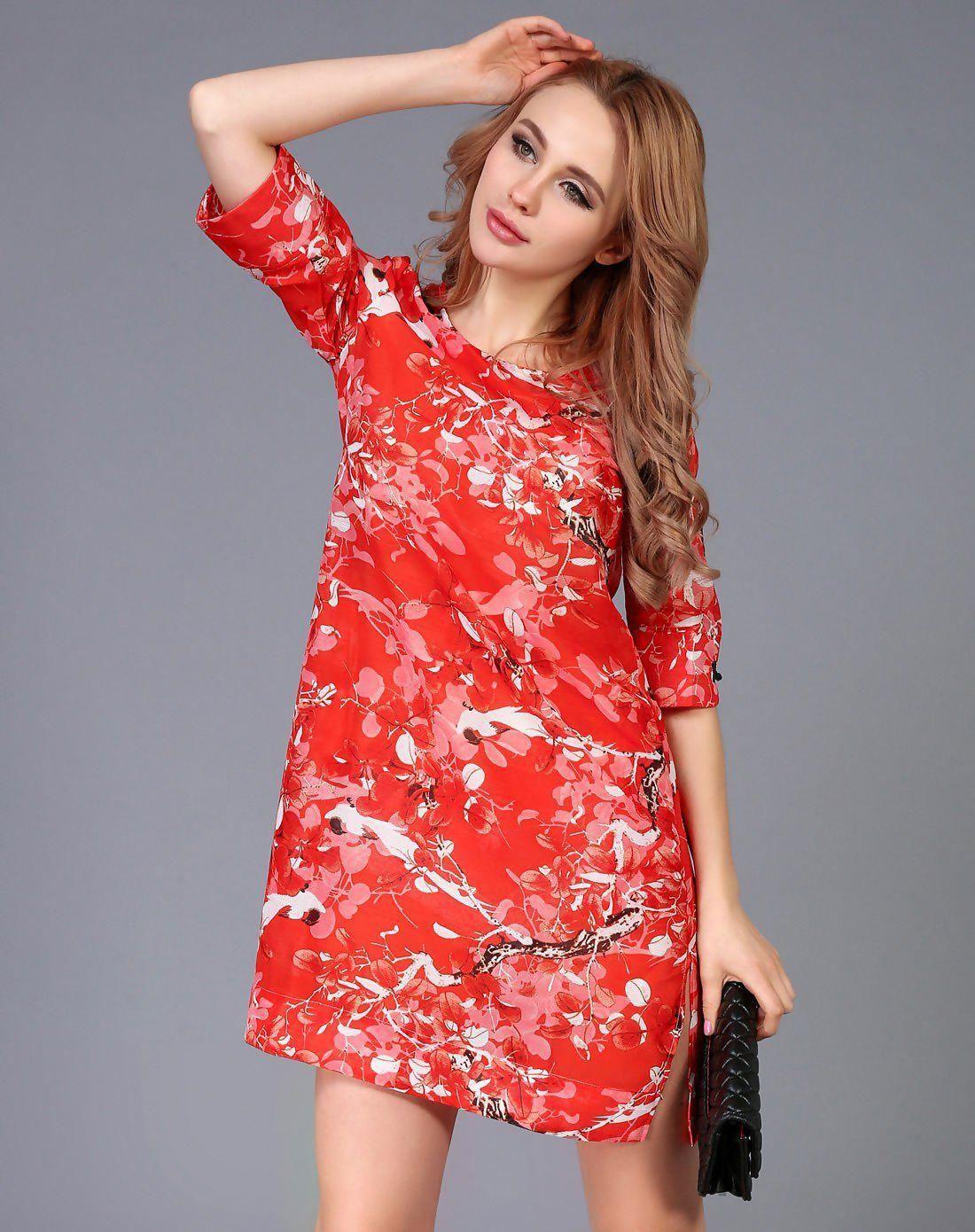 #AdoreWe #VIPshop Womens - GUSTAVO ARANGO Orange Shift Round Neck Basic 3/4  Length Floral Dress - AdoreWe.com