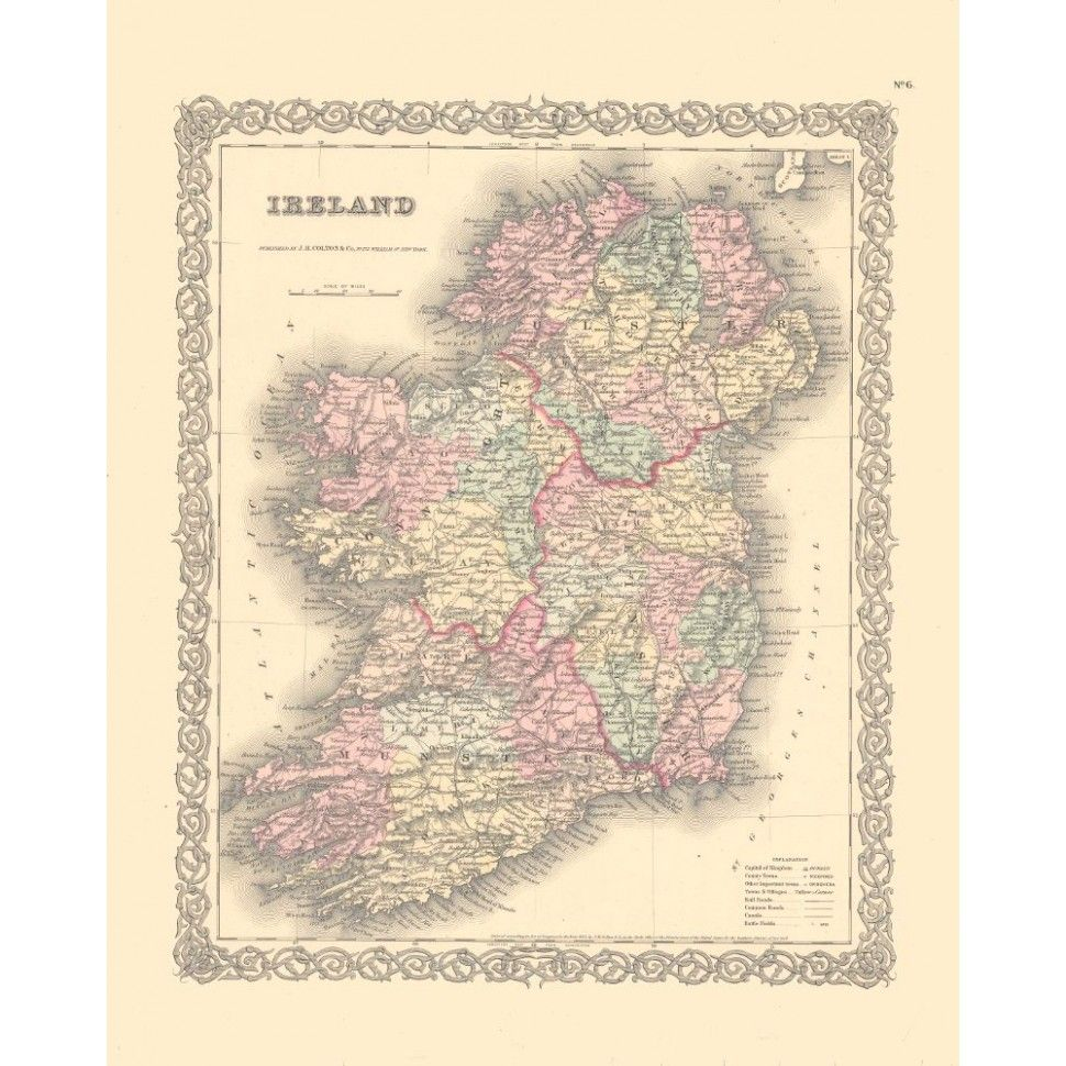 Ancient Map Of Ireland.Ireland Vintage Wall Map Old Maps Wall Maps Framed Maps Map