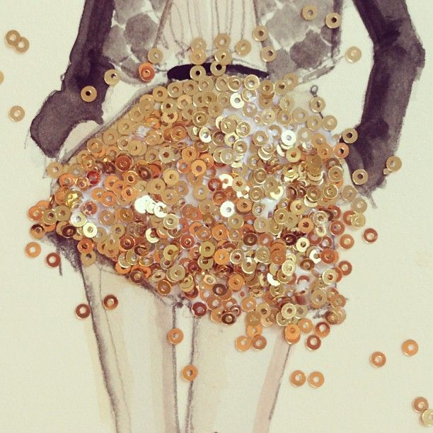 creative ideas for fashion design sketchbook work gold sequins watercolour illustration - Fashion Design Ideas