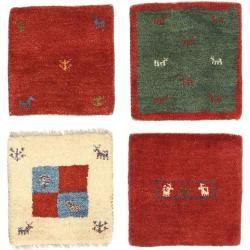 Gabbeh Persisch Paket aus 4 Teppich 40x40 Orientalischer, Quadratisch Teppich