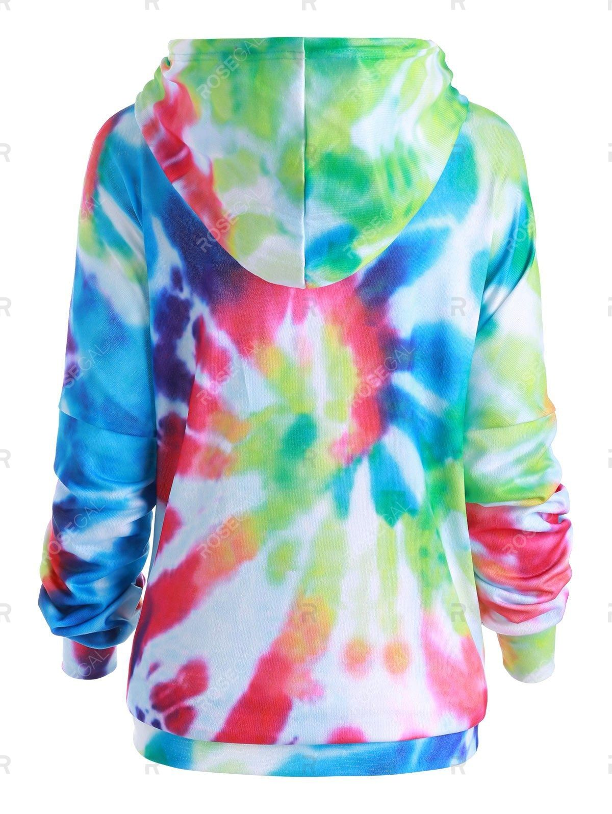 Plus size rainbow spiral tie dye print tunic hoodie in