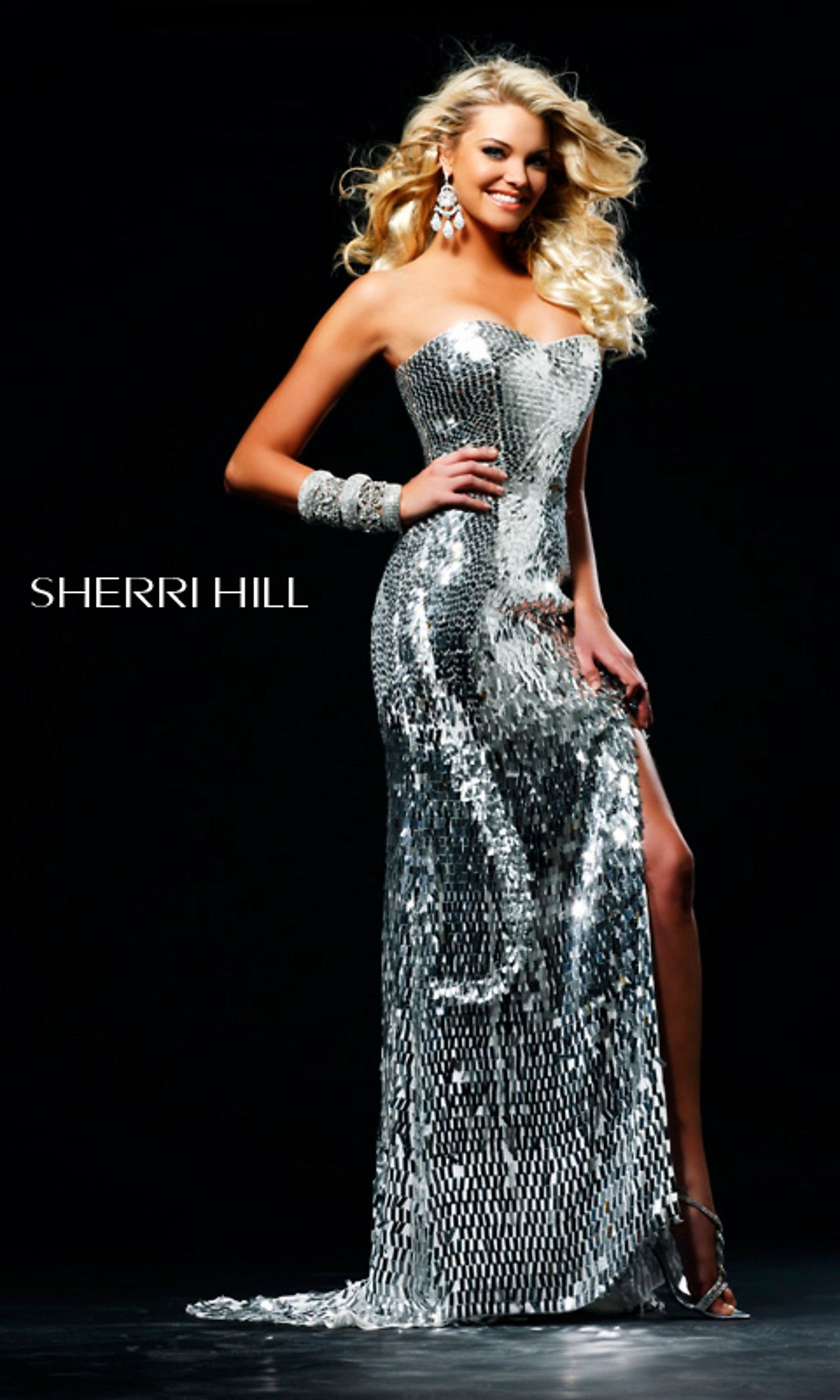 5c449a5faa647 I would kill for this dress! <3 Strapless Sequin Evening Gown by Sherri Hill  2270 $450.00