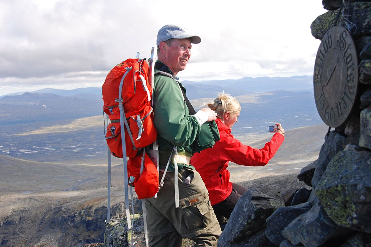 Op de top van Sylane, tussen Zweden en Noorwegen