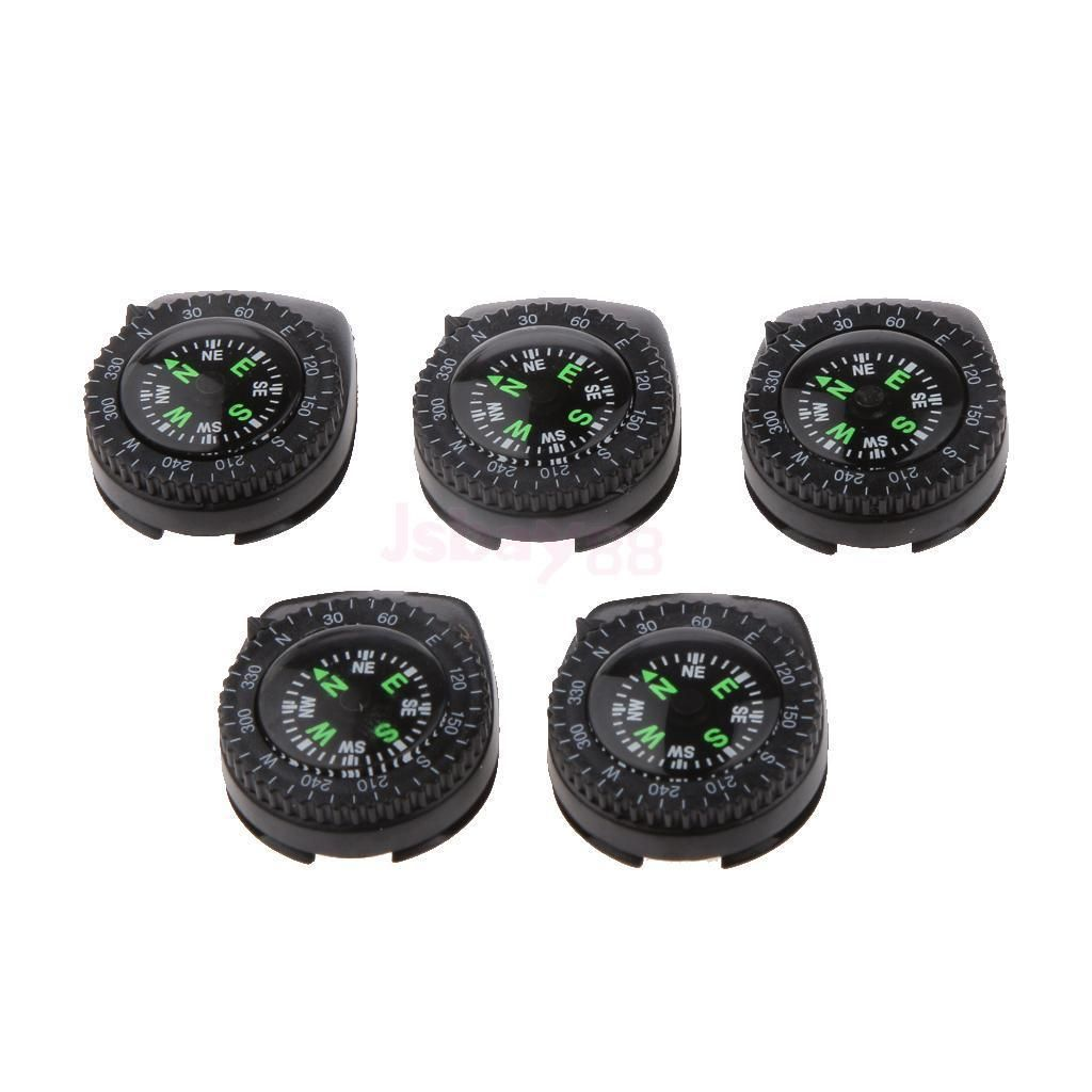 5pcs Set Outdoor Hiking Travel Removable Mini Clip-on Watchband Compass