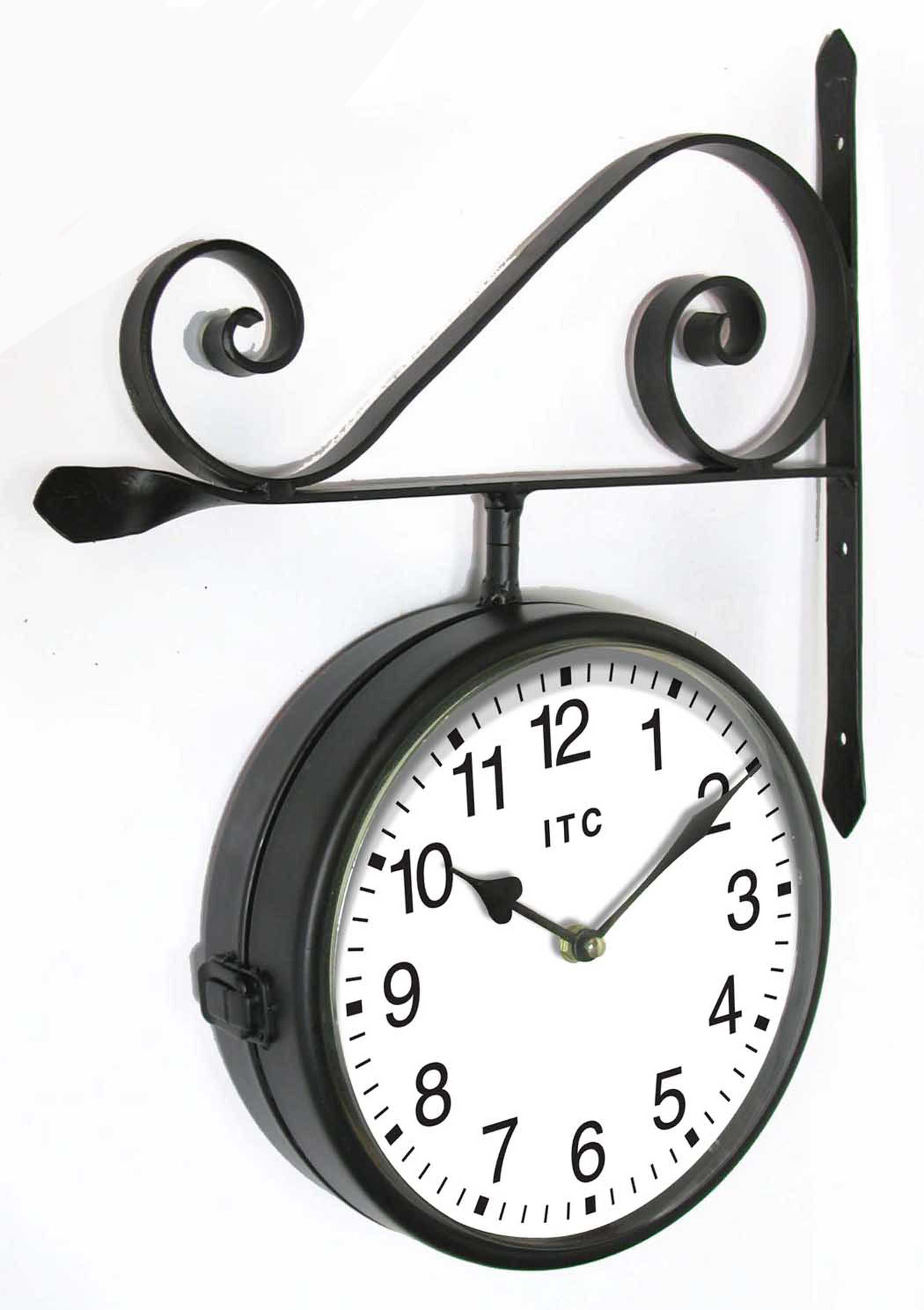 The Double sided black Wall Clock by Infinity Instruments offers a