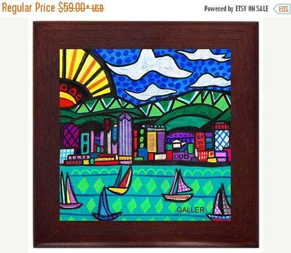 San Diego California City Skyline Folk Art Ceramic Framed Tile By Heather Galler Ready To Hang Tile Frame Gift Pinturas Floreros Arte