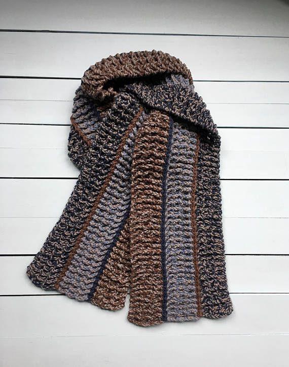Crochet PATTERN Mens Scarf, Mens Crochet Scarf Pattern, Easy Crochet ...