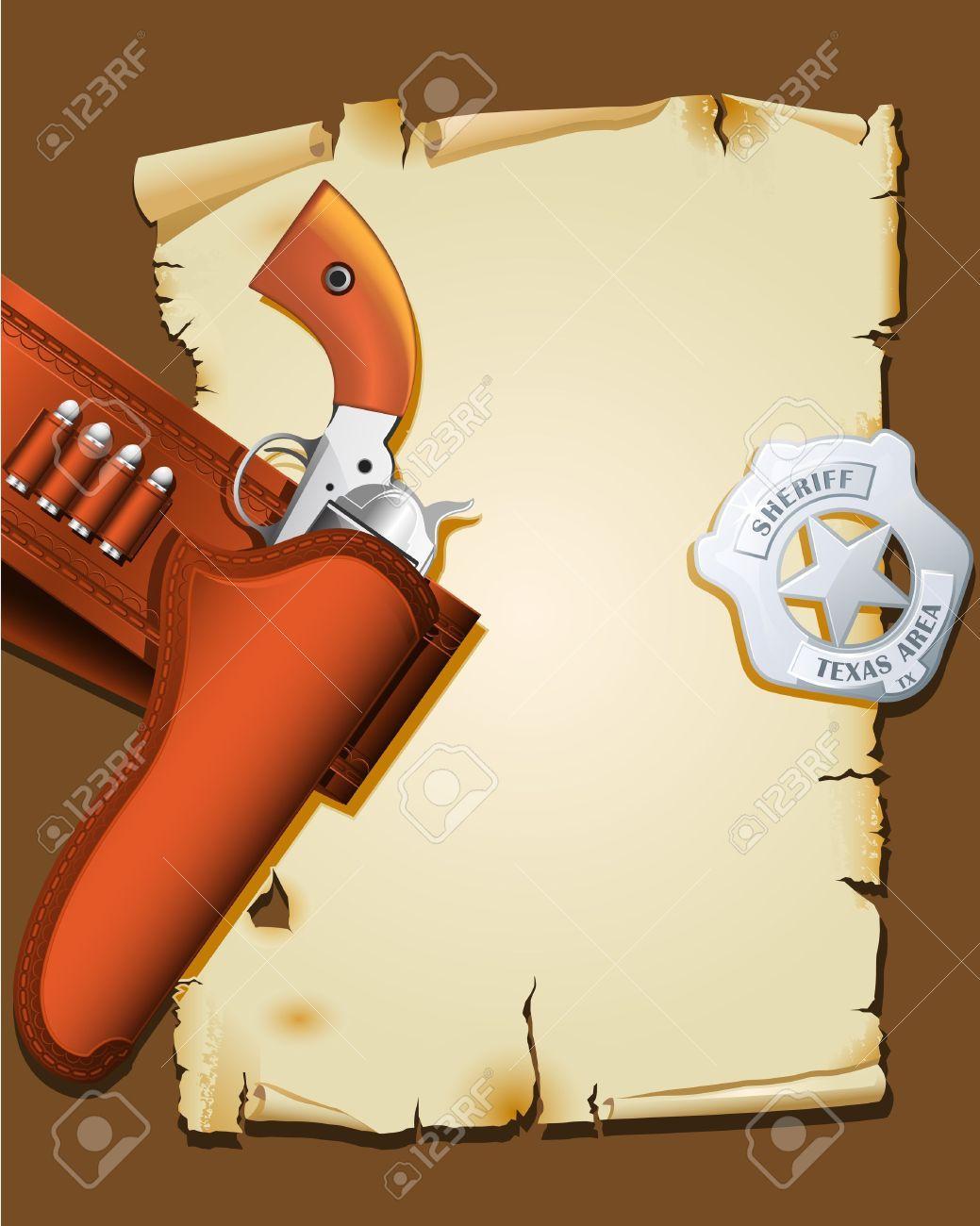 Cartel del salvaje oeste con arma de fuego e insignia del sheriff ...