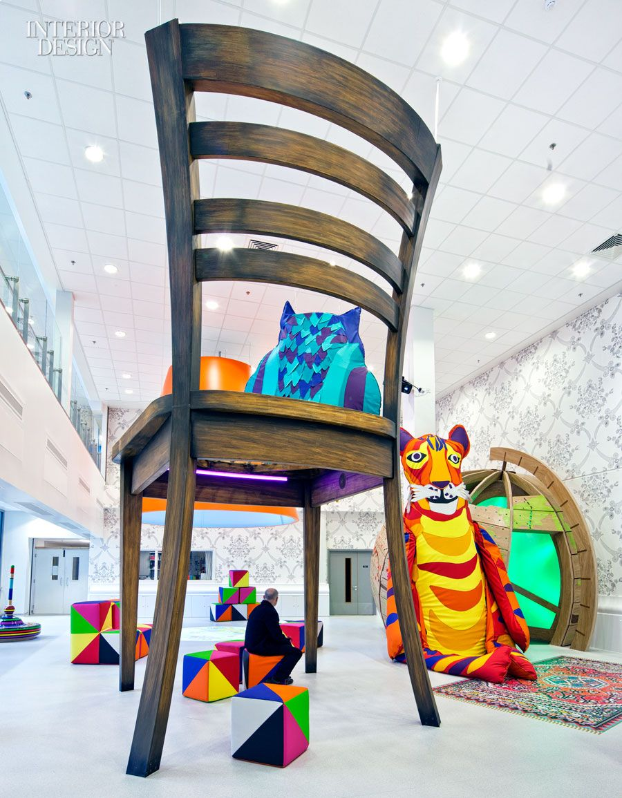 Idea: A modern-day Alice's Adventures in Wonderland, these pediatric areas at the Royal London Hospital supersize everyday objects, for example a 10-foot tall chair in MDF and aluminum.