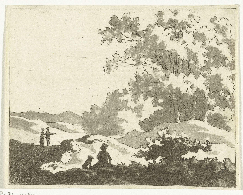Anthonie van den Bos   Duinlandschap, Anthonie van den Bos, unknown, 1778 - 1838   Twee wandelaars lopen op een pad door de duinen. Een derde wandelaar rust uit. Hij zit met zijn hond op de grond en kijkt naar een groep bomen.