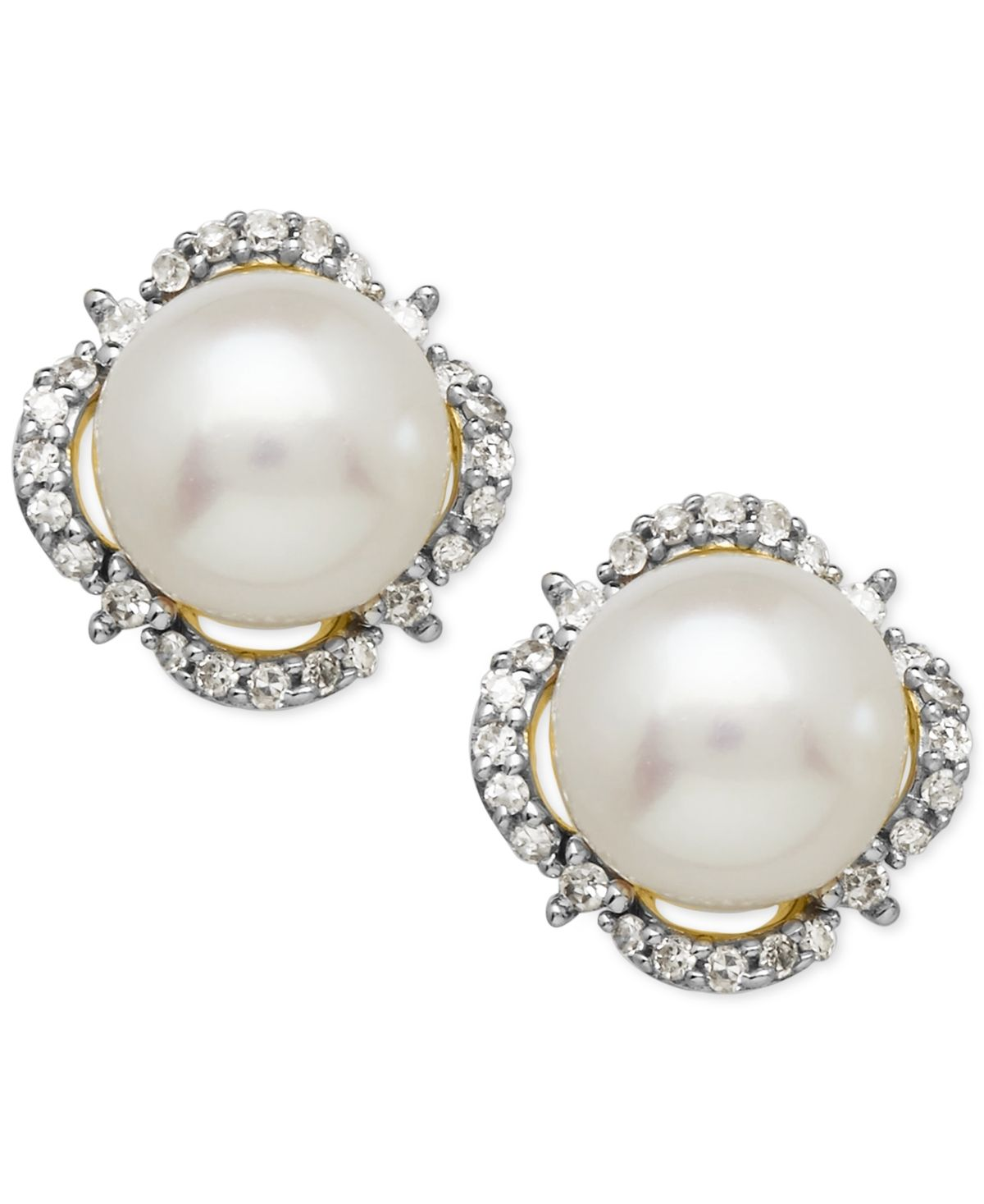 NEW WHITE PEARL STUD EARRINGS 14K YELLOW GOLD GENUINE FRESHWATER BUTTON 7MM