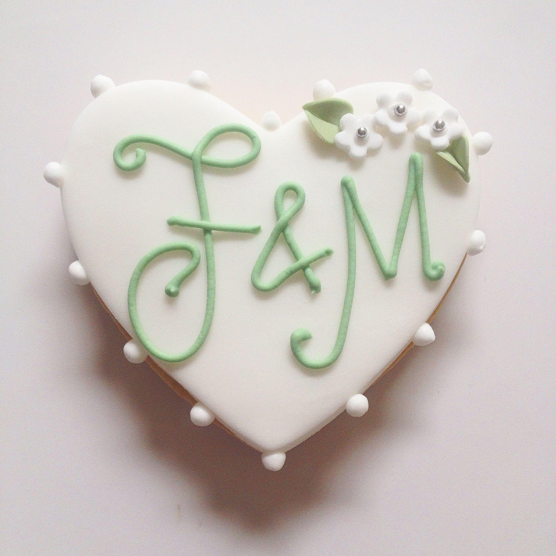 Monogrammed Iced Cookie Wedding Favour - lemon sugar cookie ...