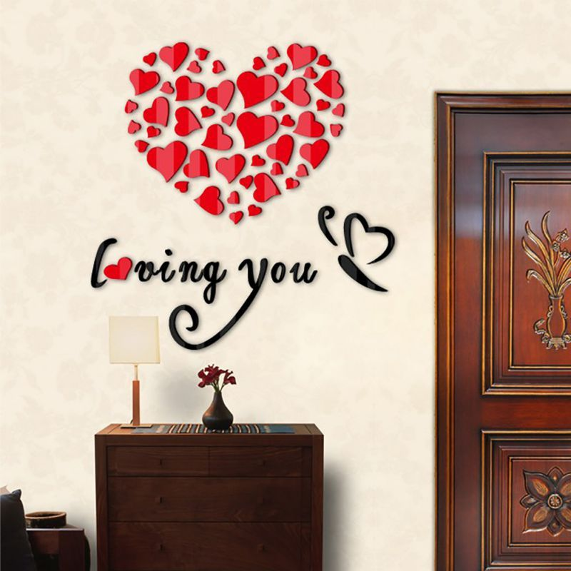 Love Wall Stickers 3d Romantic Heart Wall Sticker Removable Decal